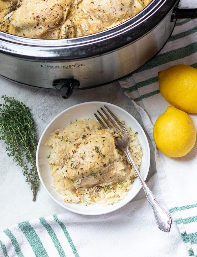 Slow Cooker Lemon Garlic Chicken Thighs With Rice