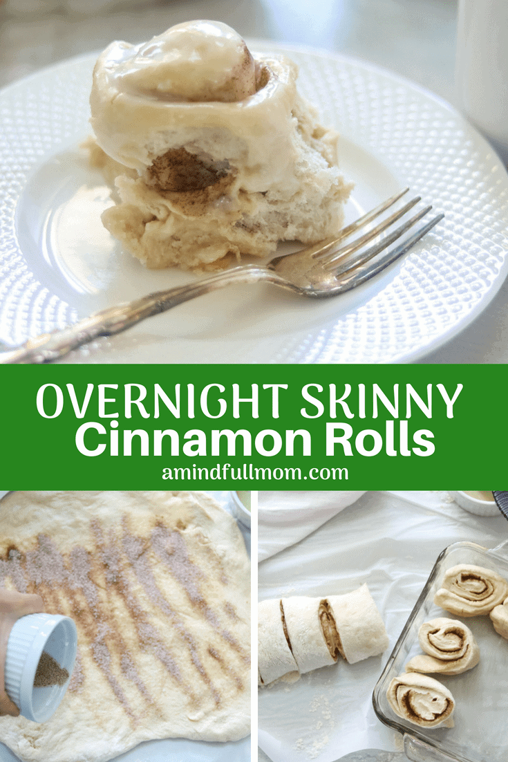 Easy Skinny Overnight Cinnamon Rolls: An easy cinnamon roll that is prepped the night before and ready to be baked to perfection in the morning. Made with whole white wheat flour, less butter, less sugar for a more wholesome morning treat.#cinnamonrolls #breakfastrecipe #skinnybreakfastrecipes