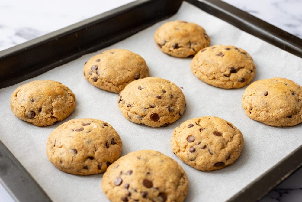 Baked Neiman Marcus Cookies on cookie sheet.