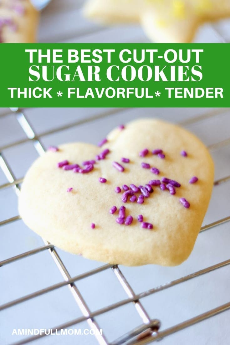 The Best Cut Out Sugar Cookie Recipe: This is the cookie recipe you have been looking for--a  simple sugar cookie that holds it shape, bakes up soft and fluffy and is full of flavor. These cut out cookies are delicious eaten plain, but hold up perfectly to decorating and can be made ahead and frozen as well.  #amindfullmom #cookies #sugarcookies #cutoutcookies