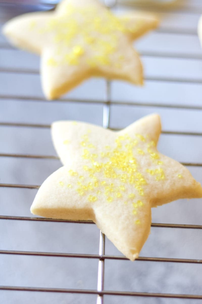 Thick Star Cut Out Cookie Cooking on Cookie Sheet