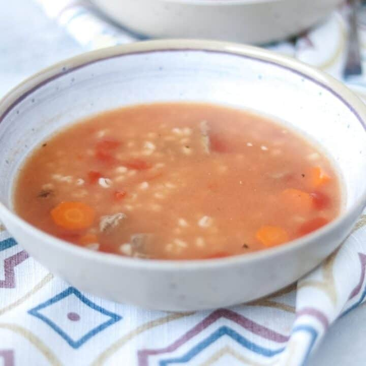 Bowl of Instant Pot Beef Barley Soup
