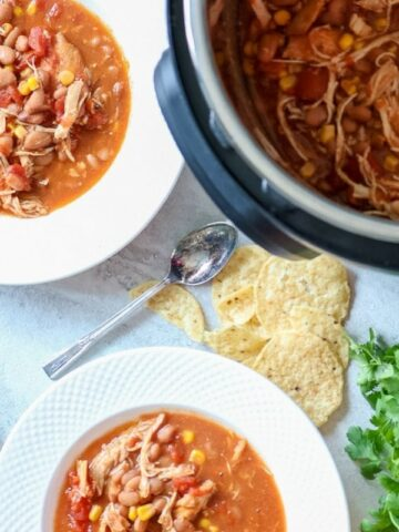 2 bowls of Instant Pot Chicken Chili