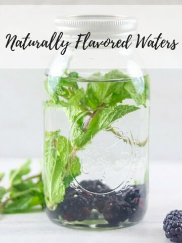 Jar of blackberry mint water with title text overlay