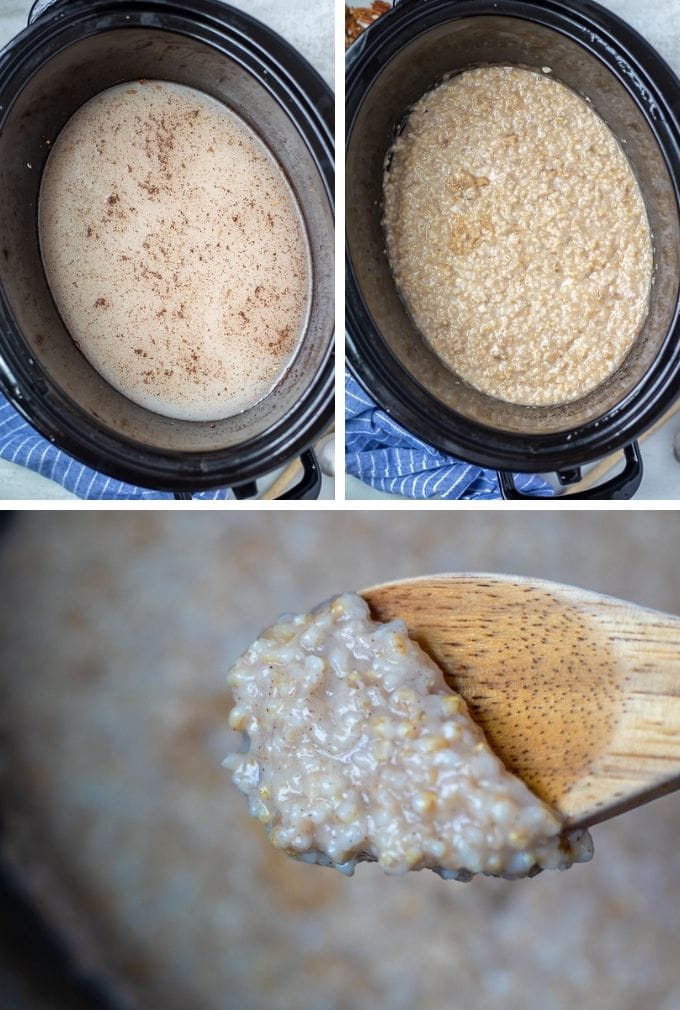 Collage showing steps to make Crockpot Oatmeal