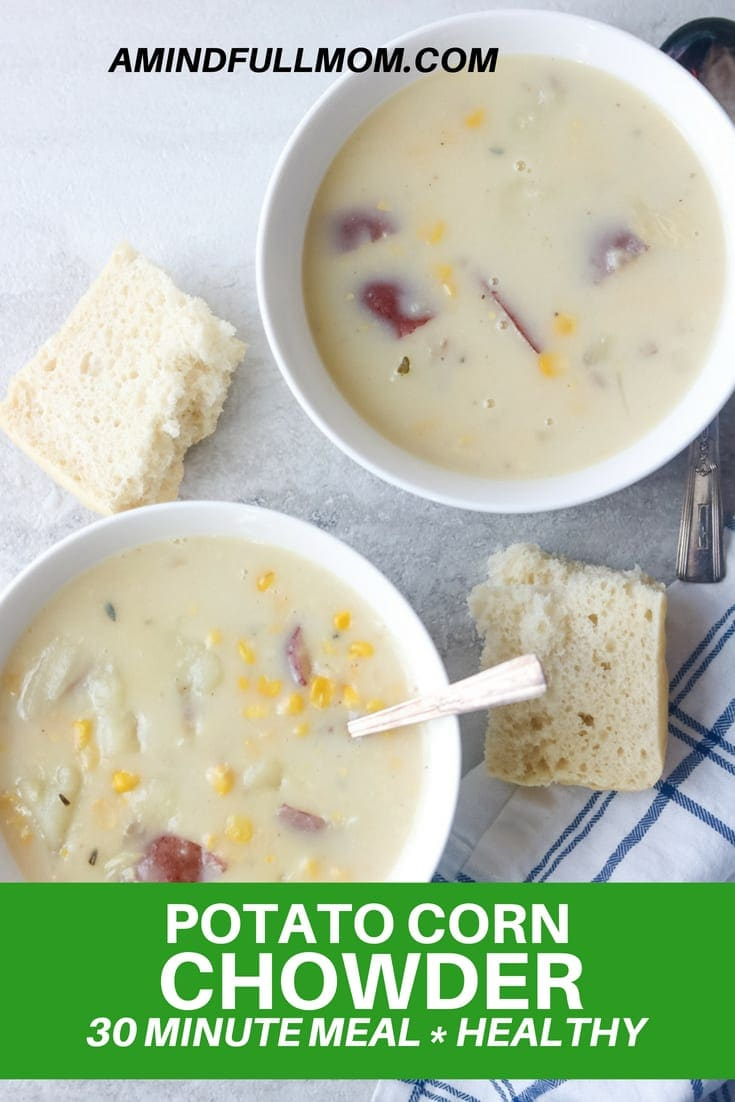 30 Minute Healthy Potato Corn Chowder: A simple vegetable chowder that comes together in 30 minutes with pantry staples. This creamy soup, full of flavor, yet made with wholesome, low-fat ingredients.Slow Cooker Instructions as well. #30minutemeal #chowder #soup #healthy #vegetarian #lowfat
