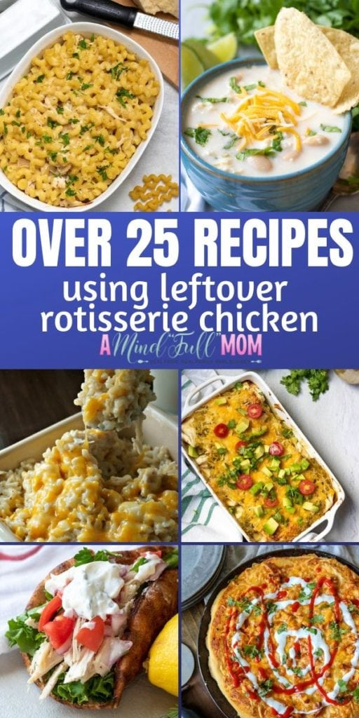Collage of Recipes that use leftover chicken