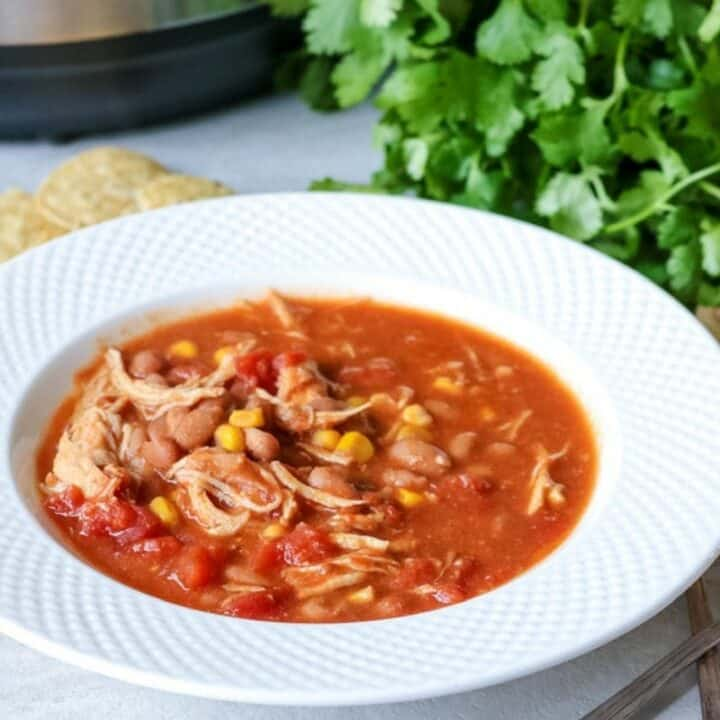 Bowl of Instant Pot Chicken Chili