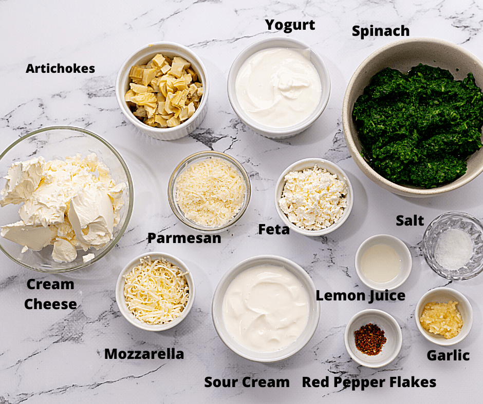 Ingredients of Lemon Spinach Artichoke Dip on counter, labeled