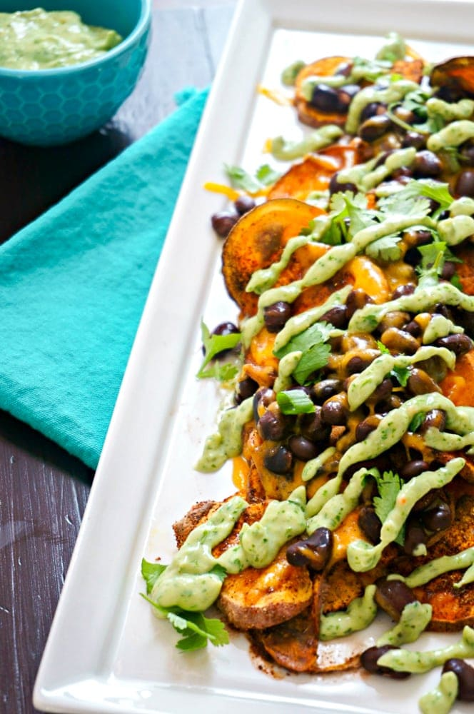 Plate of Baked Sweet Potato Nachos with Cilantro Cream