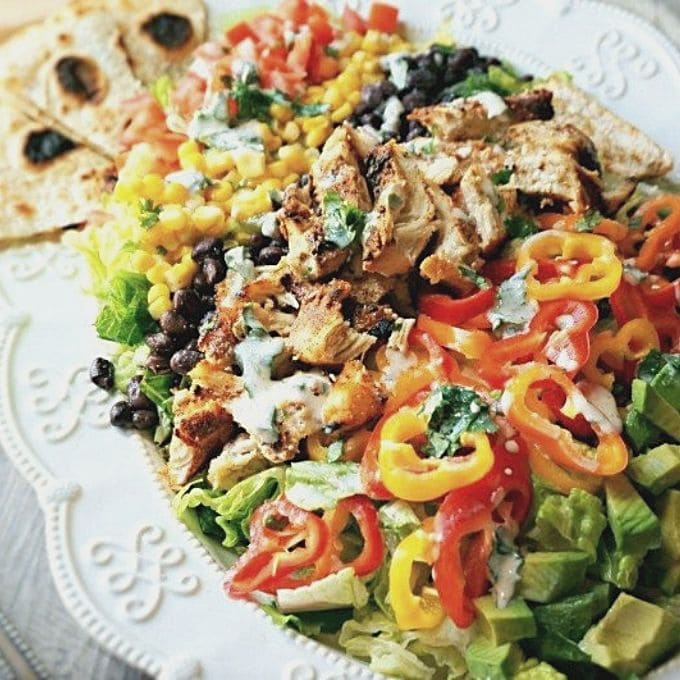 Tex Mex Chicken Salad on large white platter