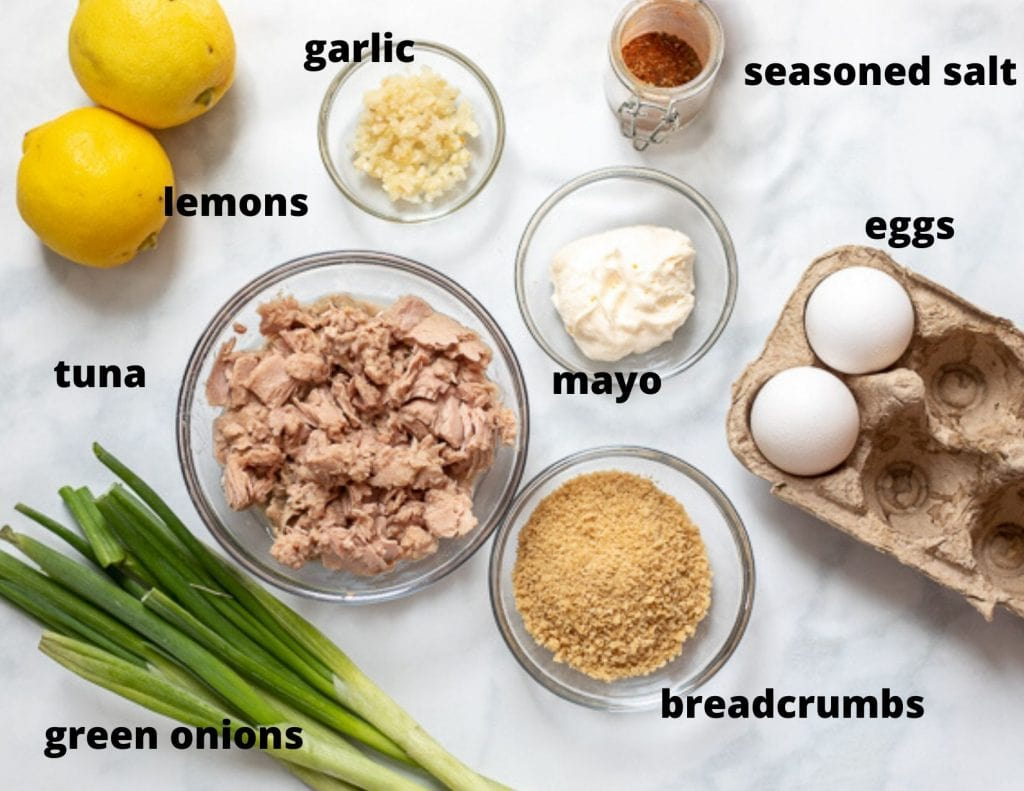 Ingredients for Tuna Cakes on White Board labeled