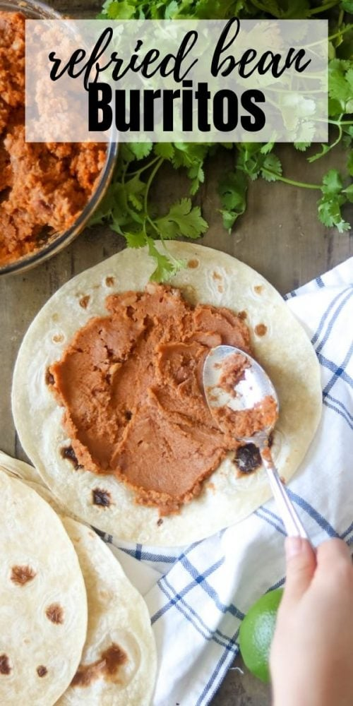 Bean Burritos are one of the easiest meals to prepare. Made with a few pantry staples and minutes of work, this simple vegetarian recipe is flavorful, cheap, and a family favorite. When you are short on time, these Bean Burritos make a quick and healthy dinner option that can be on the table in less than 15 minutes. They are also great to prep in advance and store in the freezer for a quick lunch on the go or at home.