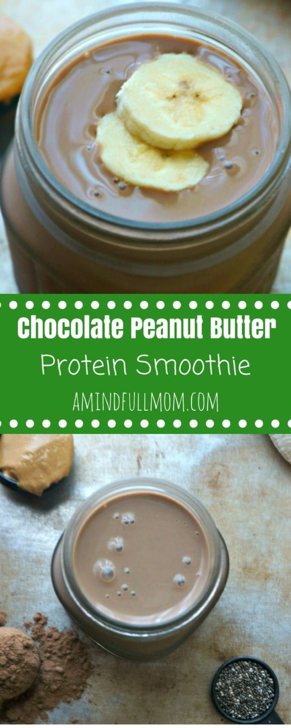 Chocolate Peanut Butter Protein Smoothie: Fulfill your nutritional needs and power yourself up with a healthy protein shake chock full of protein, healthy fats, and nutrients that tastes just like a decadent peanut butter cup. #proteinshake #chocolatepeanutbutter #smoothie #healthy #cysticfibrosis