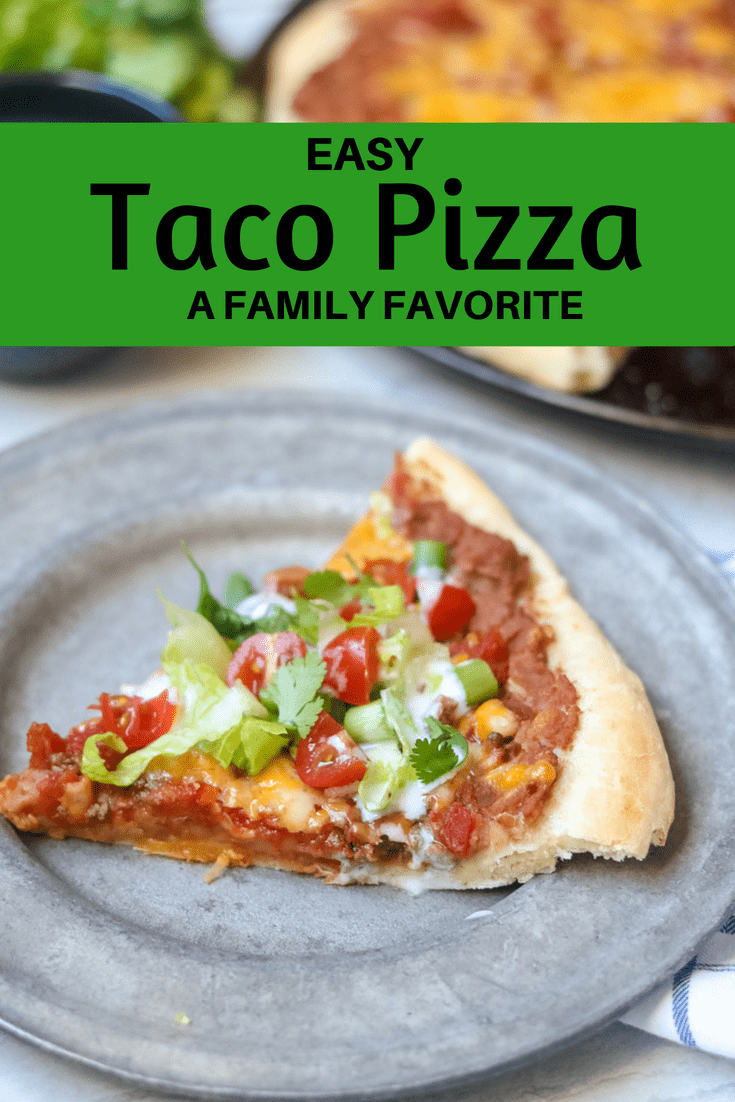 Taco Pizza: A twist on pizza for a Mexican pizza made with refried beans, taco meat and cheese. This copy-cat version of Papa Murphy's Taco Pizza is going to be LOVED by your family! #mexicanpizza #pizza #familymeal #tacopizza
