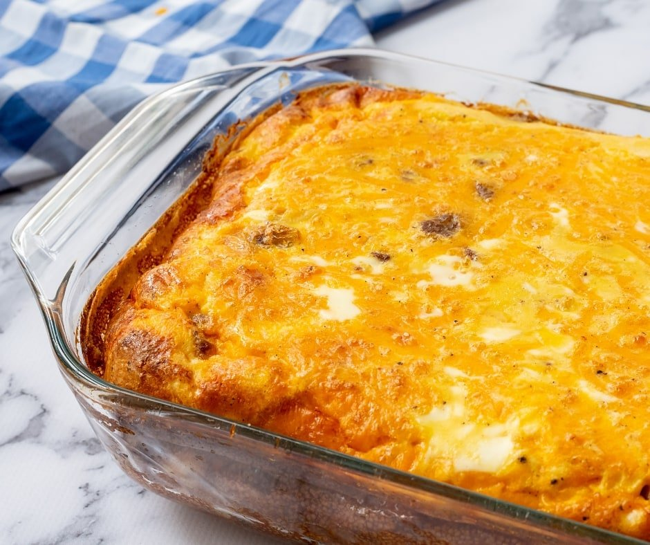 egg cheese sausage hashbrown casserole baked in casserole dish