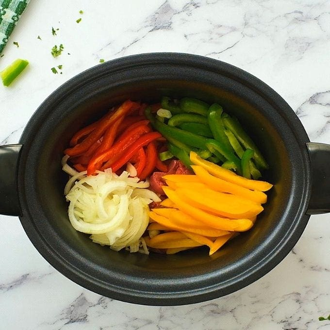 Peppers, Onions, and Steak in Slow Cooker