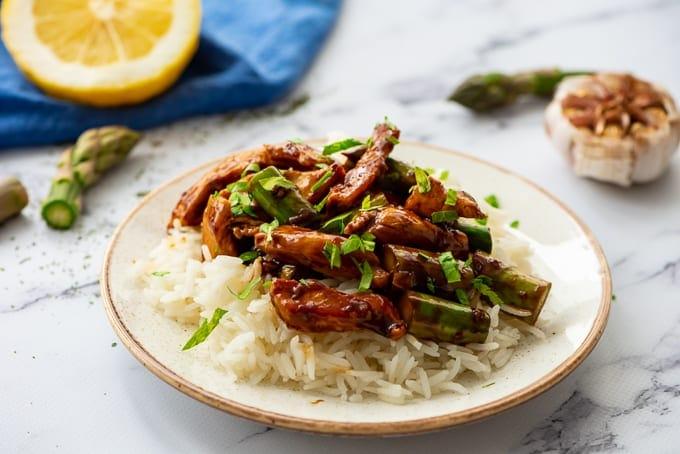 Honey Lemon Chicken Stir Fry on white rice