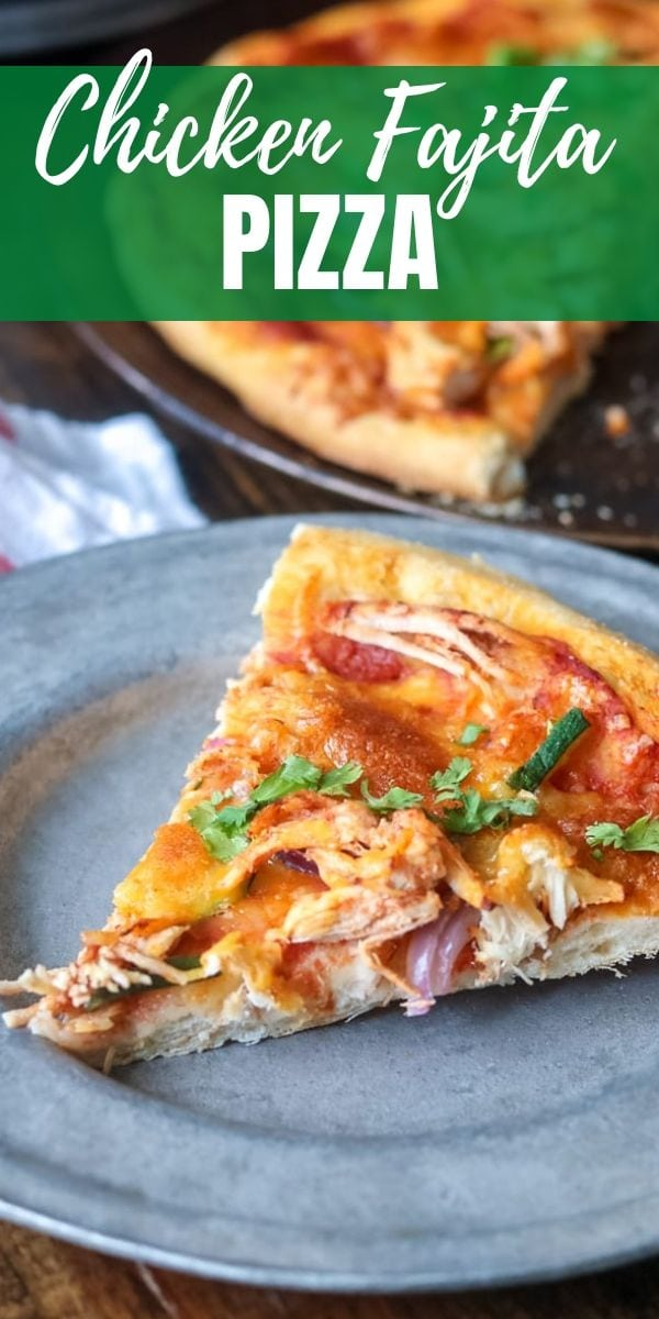 Seasoned shredded chicken, peppers, onions, and cheese create a simple pizza that filled with the flavors of chicken fajitas. This is a creative recipe for leftover chicken!