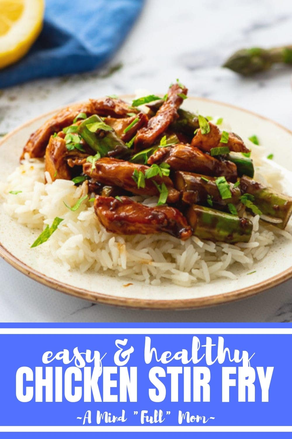 This Simple Healthy Chicken and Asparagus Stir Fry comes together in less than 15 minutes! This chicken stir fry recipe makes a quick and delicious meal that features chicken and asparagus glazed in a sweet and tangy honey lemon stir fry sauce. #30minutemeal #chickenrecipe #stirfry