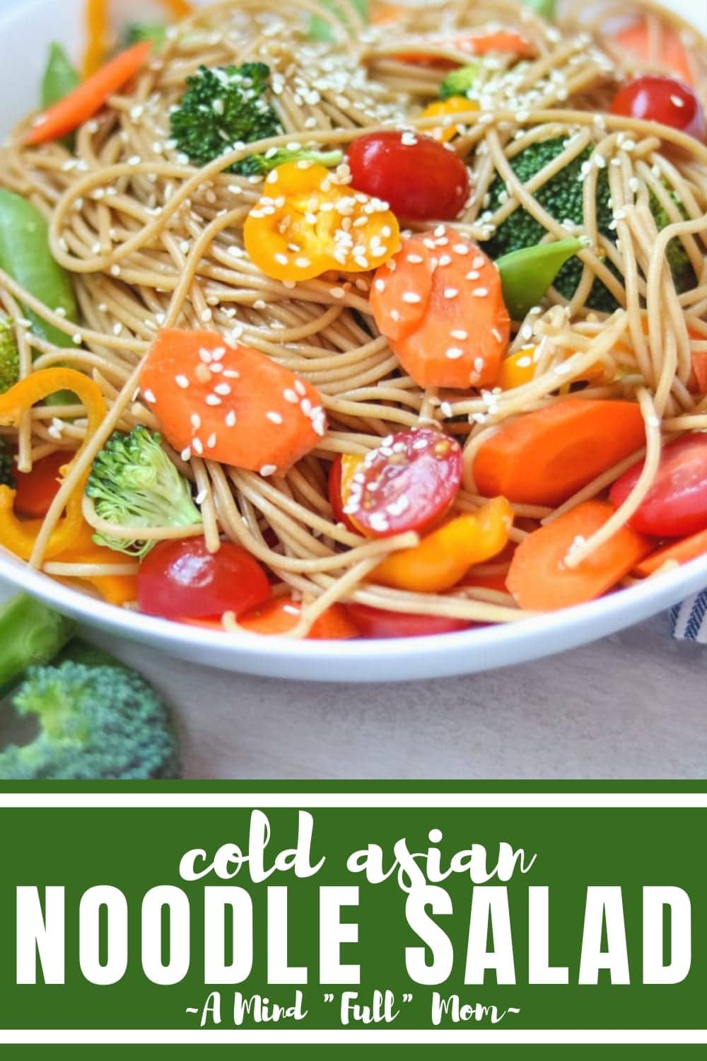 Asian Noodle Salad is an easy oriental pasta salad filled with fresh vegetables and tossed in a sesame soy dressing. Asian Pasta salad is a perfect side dish for outdoor entertaining or can star as a light main course. #amindfullmom #pasta #asianrecipe #meatlessmeal