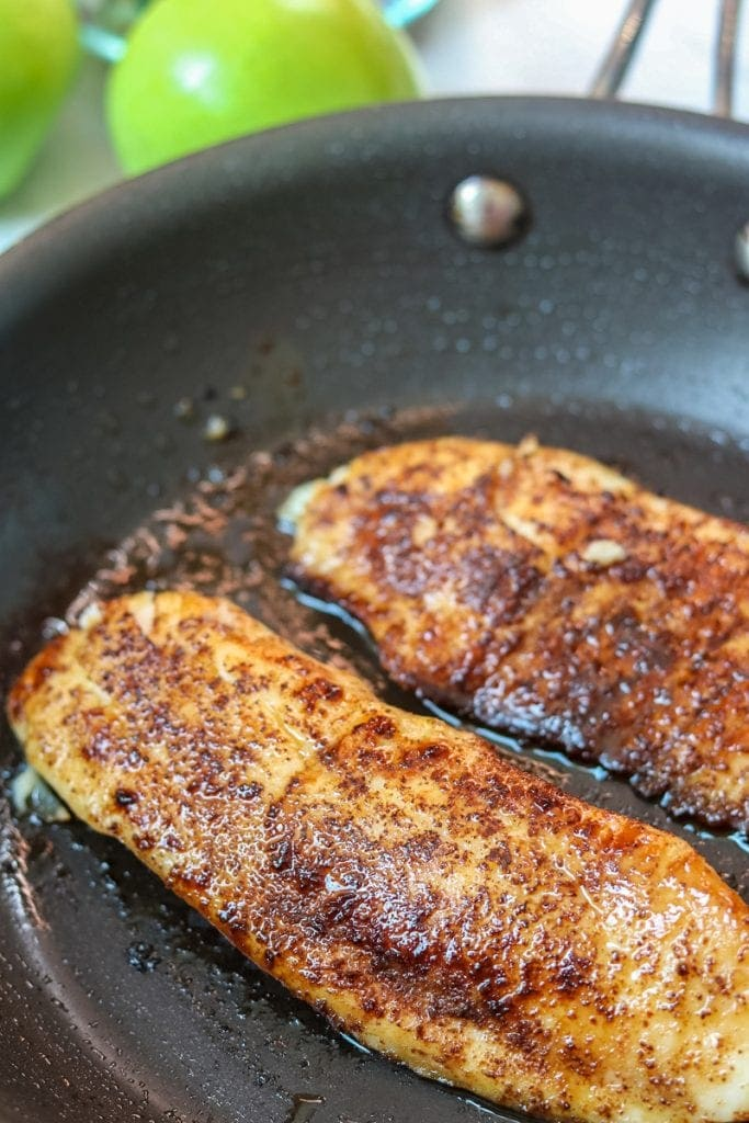 Tilapia in nonstick skillet with chili lime glaze