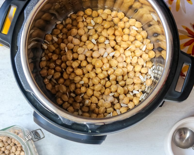 Instant pot filled with cooked chickpeas