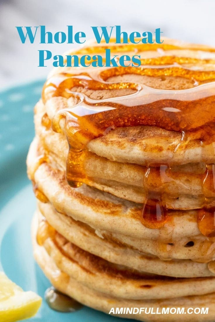 Healthy Whole Wheat Pancakes: The best easy recipe for fluffy wheat pancakes. These healthy pancakes make a perfect weekend breakfast and also freeze great for a quick weekday breakfast.#breakfast #pancakes #wholewheat #freezerfriendly