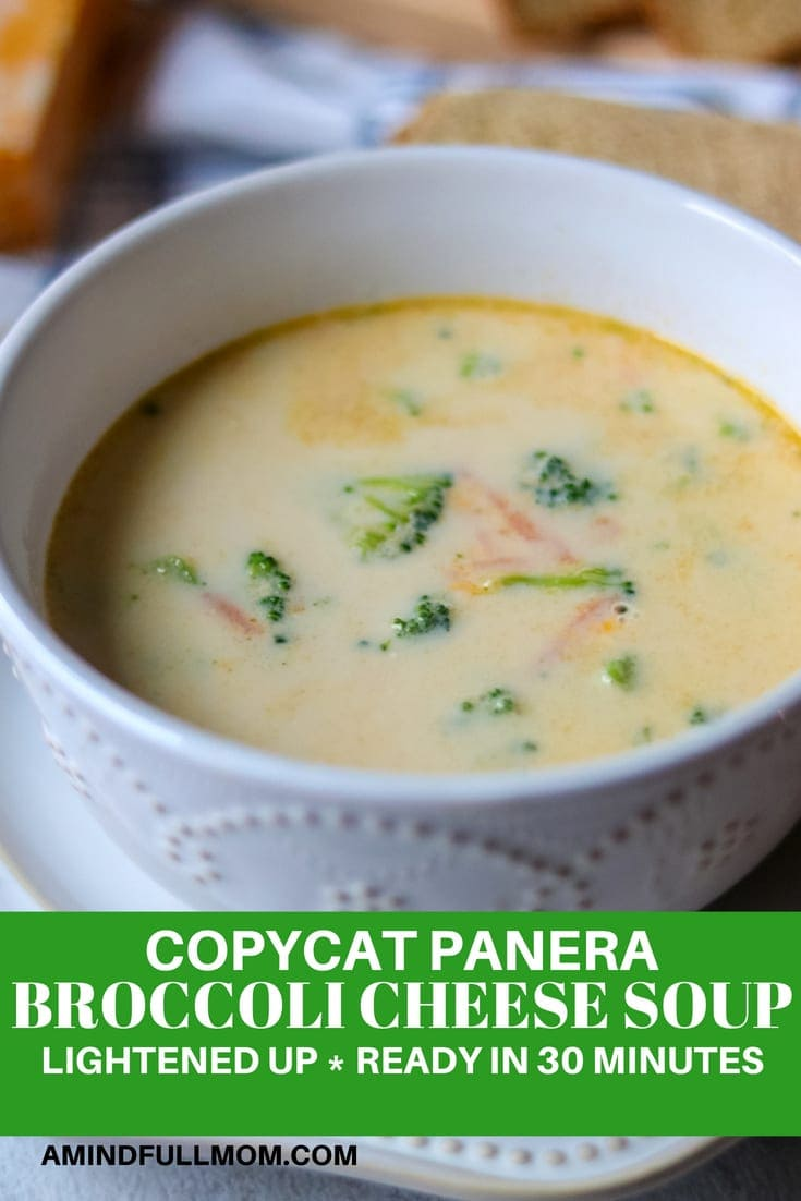 Copycat Panera Broccoli Cheddar Soup: In just 30 minutes, you can have a delicious and healthy broccoli cheese soup on the table. No one will guess this broccoli cheddar soup recipe has been lightened up and contains only a fraction of the fat and calories of Panera Bread's famous broccoli cheese soup. #soup #vegetarian #broccolicheese