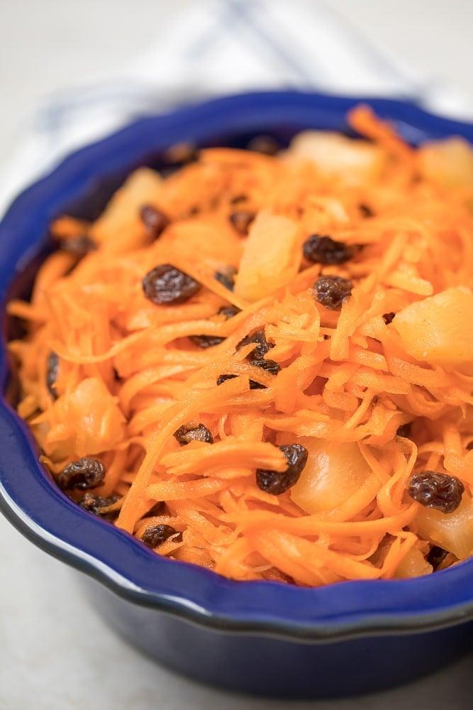 Carrot Raisin Salad in Blue dish