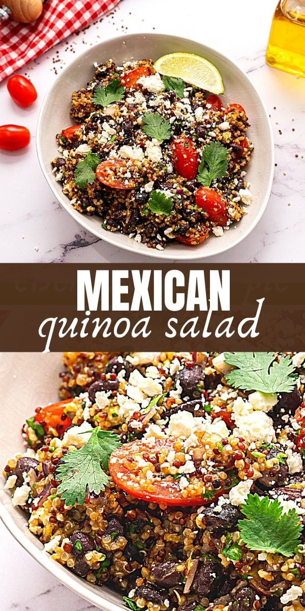 Mexican Quinoa is a light and refreshing quinoa salad made with tomatoes, black beans, cilantro, and a lime dressing for a flavorful refreshing, healthy Mexican side dish.