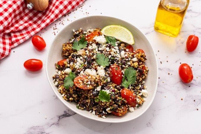 Mexican Quinoa Salad in a white bowl.