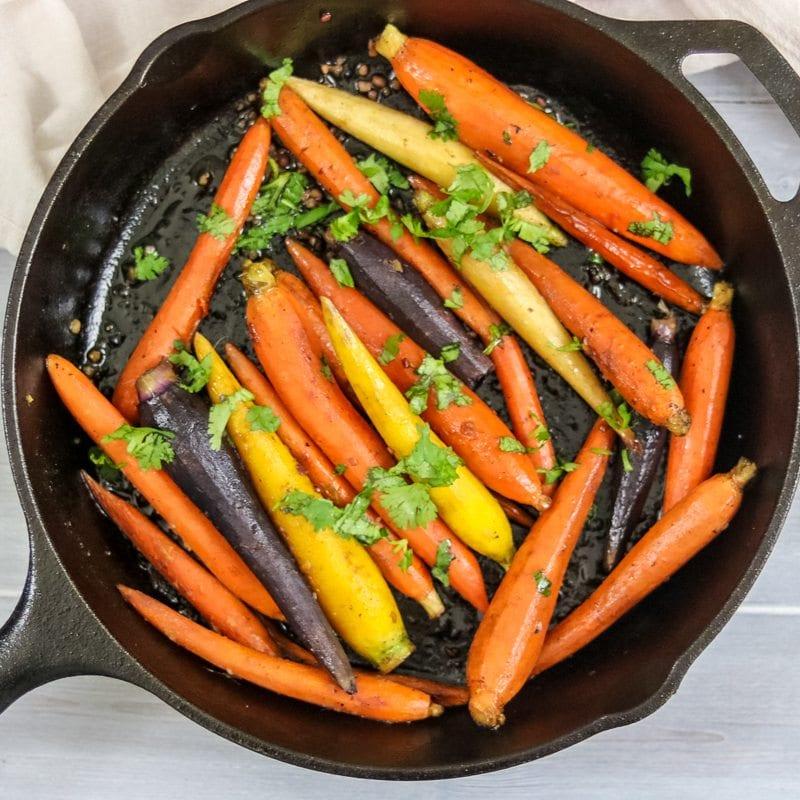Pan Roasted Maple Orange Glazed Carrots with Garlic