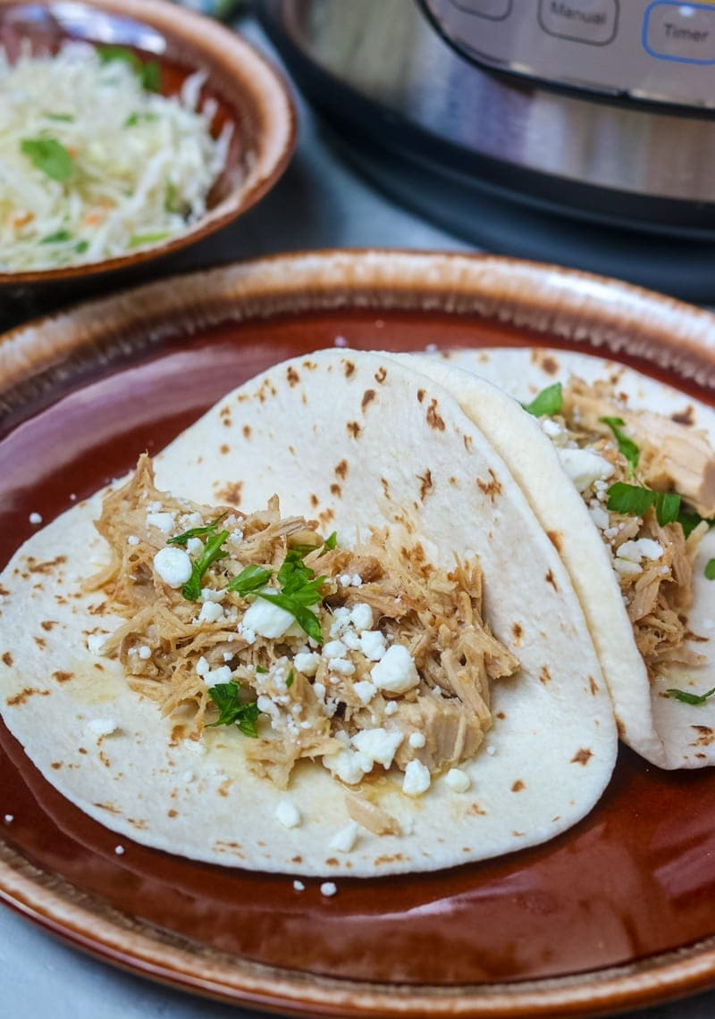 2 tacos made with Instant Pot Carnita Meat