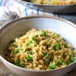 Close up of vegetable fried rice with peas, carrots and cabbage