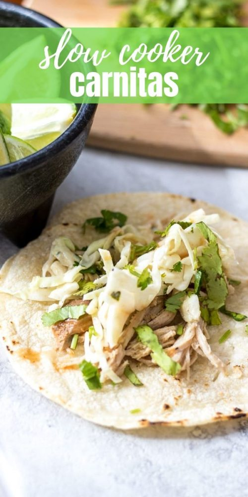 Slow Cooker Pork Carnitas is an incredibly easy recipe that is full of flavor! Sweet and spicy shredded Mexican pork makes the perfect base for tacos. But it is the fresh Mexican Slaw that makes these Pork Carnitas irresistible.