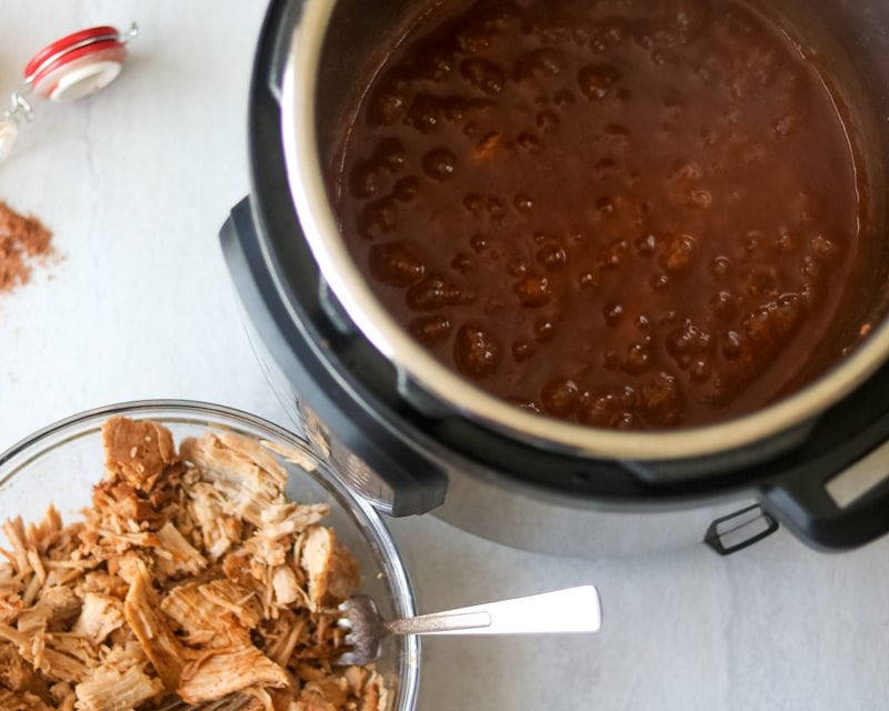 Homemade barbecue sauce reducing in instant pot