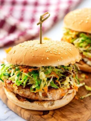 Chicken Burger topped with bbq sauce and slaw