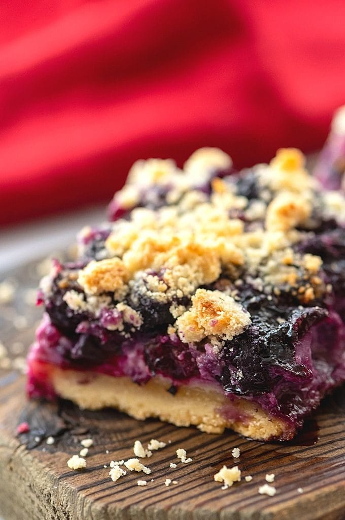 Blueberry Bar on Cutting Board
