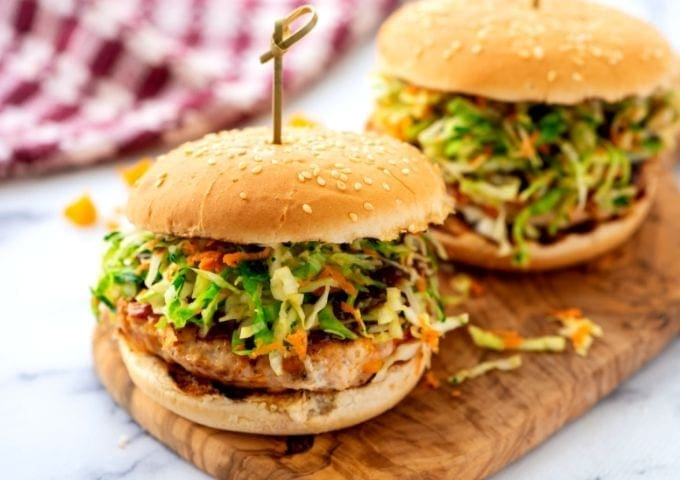 BBQ Chicken Burgers on Cutting Board