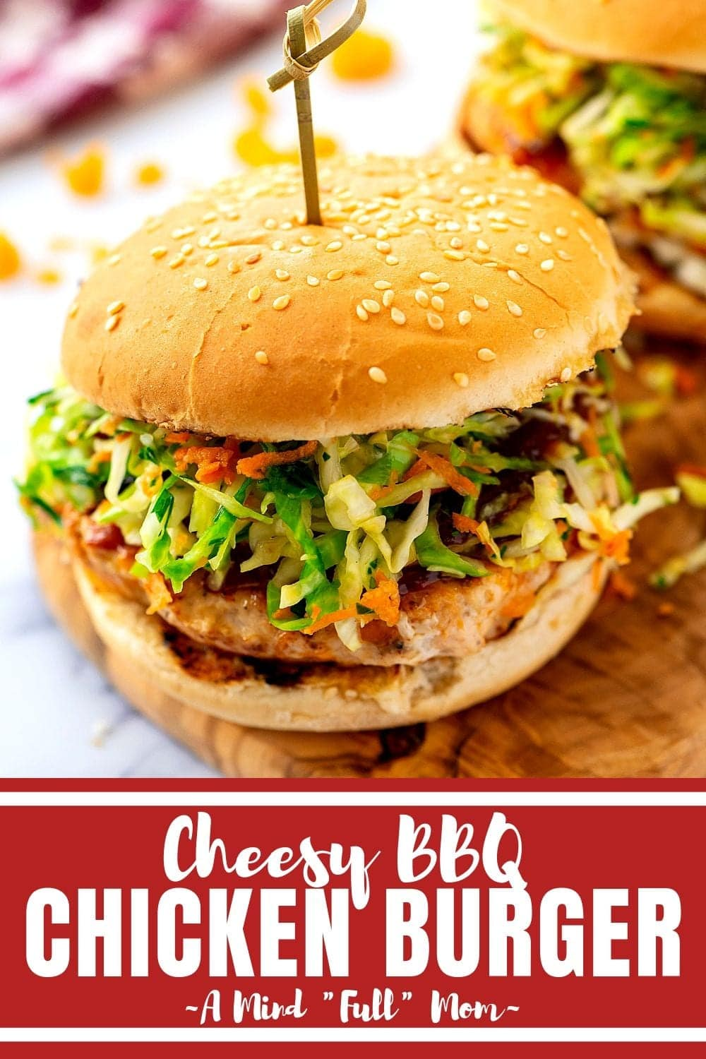 If you think Chicken Burgers are dry and flavorless, you have been making them all wrong! This chicken burger recipe is made with barbecue sauce, cheddar cheese and is incredibly flavorful and juicy!