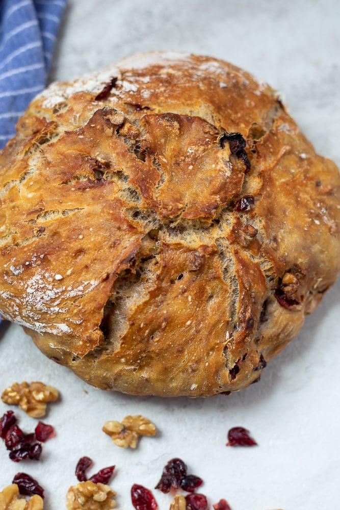 Dutch Oven Cranberry Walnut Bread