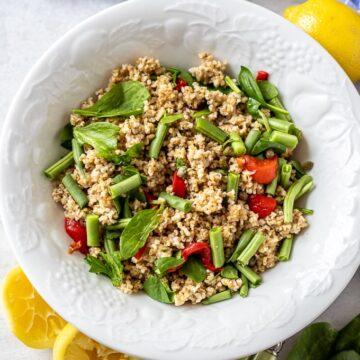 Quinoa Spinach Salad in White Bowl