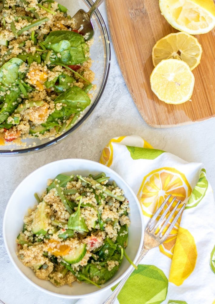 Bowl of Lemon Spinach Quinoa Salad