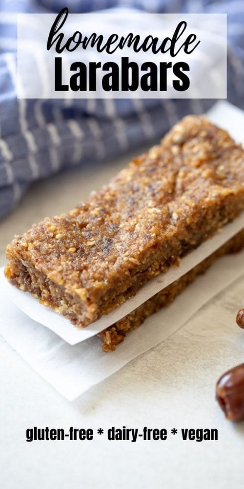 Simple, wholesome ingredients come together to form a delicious, healthy copycat version of larabars. Homemade Larabars will quickly become a staple at your house, and with eight different varieties, you will never tire of eating them! Gluten-free, dairy-free, and vegan friendly, this is one healthy snack that is perfect for everyone!