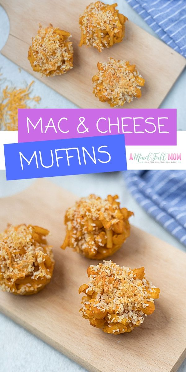 Mac and Cheese Muffins make a perfect lunch box treat that kids love! Made with macaroni and cheese, some added veggies, and a buttery crumble, these Mac and Cheese muffins make a great healthy lunch or even are perfect for parties!