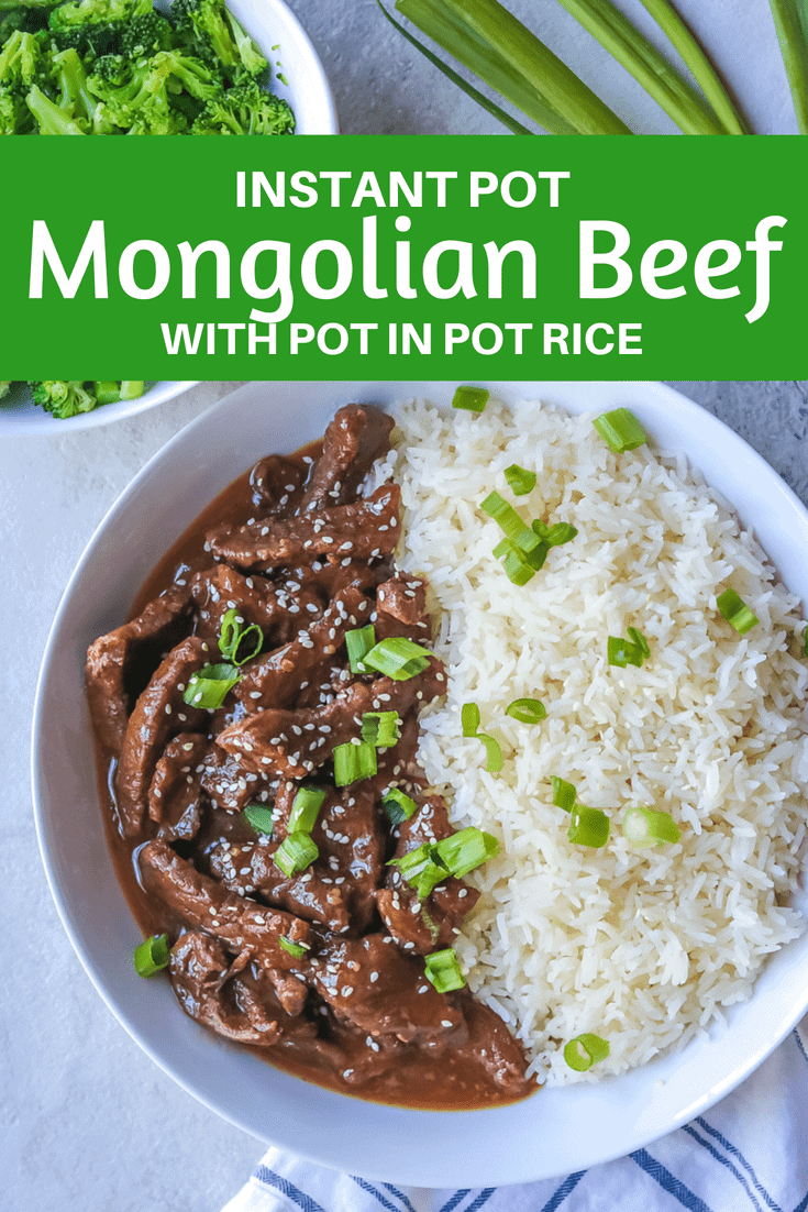 Instant Pot Mongolian Beef -- Your favorite Chinese take-out is made at home in less than 30 minutes with tender flank steak and a restaurant quality sweet and savory sauce. #beef #instantpot #asian #dinner #30minutemeal #amindfullmom