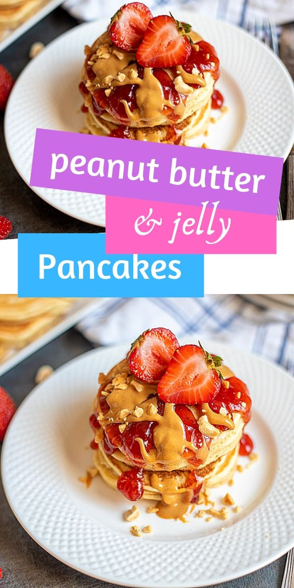 These delicious and fluffy peanut butter pancakes are topped with a strawberry syrup for an irresistible peanut butter and jelly pancake. Omit the strawberry sauce, and you have delicious peanut butter pancakes that are great topped with chocolate or maple syrup!