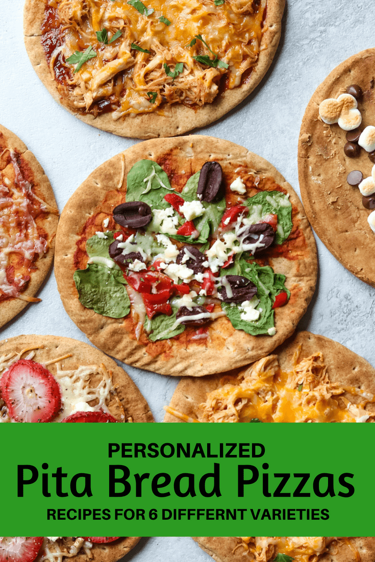 Make dinner super easy and fun with individual pita bread pizzas. This is a simple recipe that can be thrown together in a matter of minutes, for an easy delicious take on homemade pizza. And don't just limit yourself to cheese and pepperoni, check out these 6 creative Pita Pizza combinations to choose from and to please EVERYONE!