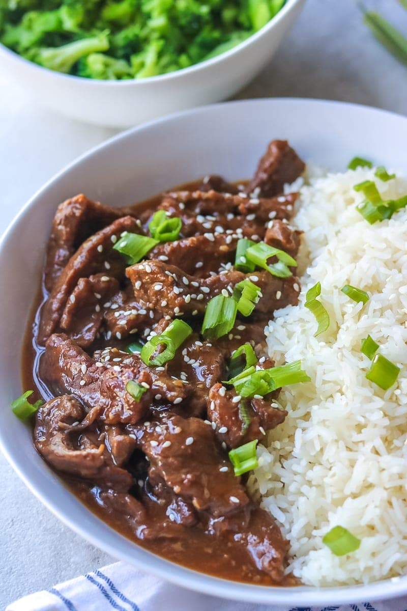 Easy Mongolian Beef with steamed rice